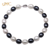 JYX charming necklace black and white 15 19mm Seashell Pearl Oval Beads Necklace high quality 17.5 elegant jewelry for women