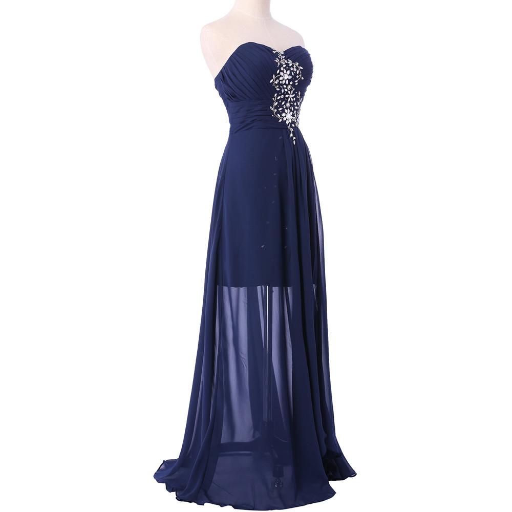 Short Front Long Back Navy Blue Red Chiffon Spilt Crystal Bridesmaid Dress