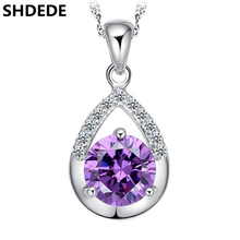SHDEDE CZ Crystal from Swarovski Purple Water Drop Pendant Necklace For Women Cubic Zirconia Fashion Jewelry Gift +*0019 стоимость