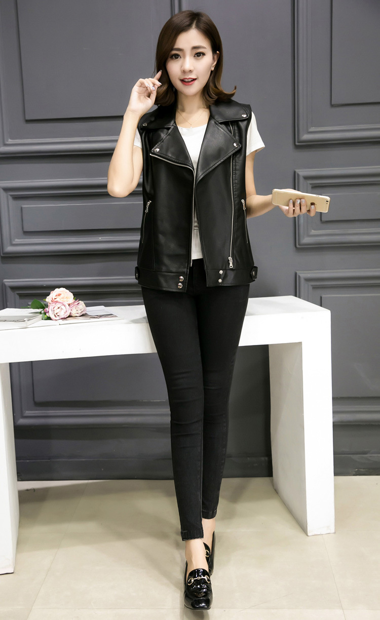 2018 Womens Sleeveless Motorcycle Jacket Turn Down Collar Pu Leather Vests S/L Female Leather Waistcoats Black Vest Coats K600