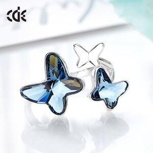 Image 4 - Cde 925 anel esterlina embelezado com cristais borboleta ajustável dedo feminino anel de noivado de casamento jóias