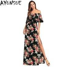 AYUNSUE 2018 Women Summer Dresses Floral Print Vintage Dress Boho style  Long Sex Slid Off Shoulder 4b4ba3020c98