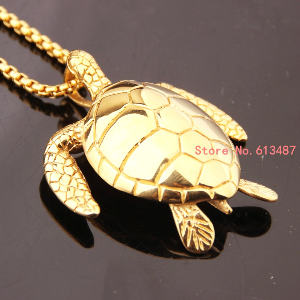 New fashion gold stainless steel sea turtle pendant chain mens new fashion gold stainless steel sea turtle pendant chain mens necklace with free box chain in pendants from jewelry accessories on aliexpress mozeypictures Images