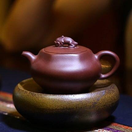 Théière à la main Pure pot de fleur Yixing œuvres célèbres Kung Fu thé théière art artiste Zhao Zhidong célèbre pure à la main