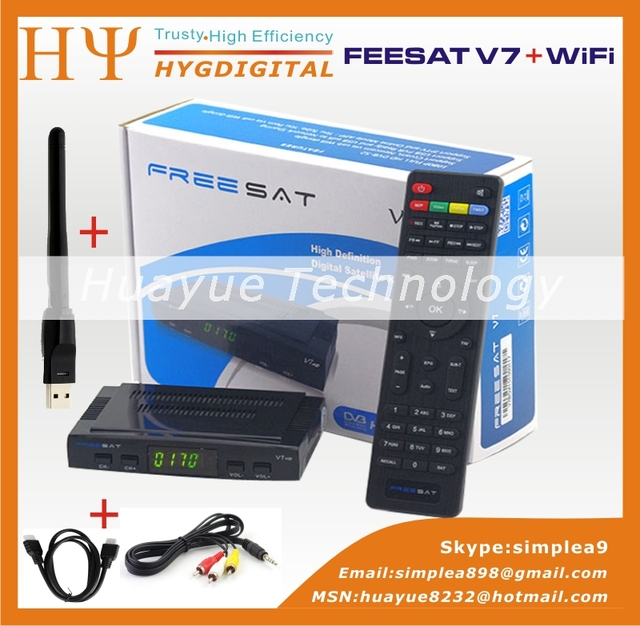 Freesat V7 Genuino Receptor de Satélite hd Lleno 1080 P HD + 1 UNID adaptador WiFi DVB-S2 Soporte Ccam powervu youpron Receptor de satélite