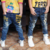 2017 Mais Novo de Primavera e Outono calças das Crianças, calças Crianças bebê Carta costura Calças Ocasional do menino das calças de Brim