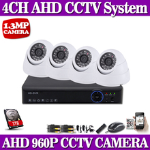 HD 960P 1.3MP HDMI CCTV System 4CH Full 720P AHD DVR Kit 4* 960P Outdoor/Indoor Security ahd Camera System Motion Detection KIT