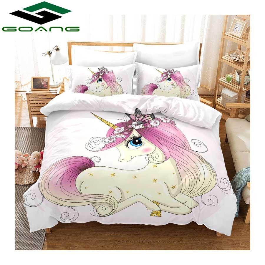 GOANG Pink Bedding Set 3d Digital Printing Pony Princess Duvet Cover And Pillowcase 3pcs Kids Bedding Set Home Textiles Cartoon