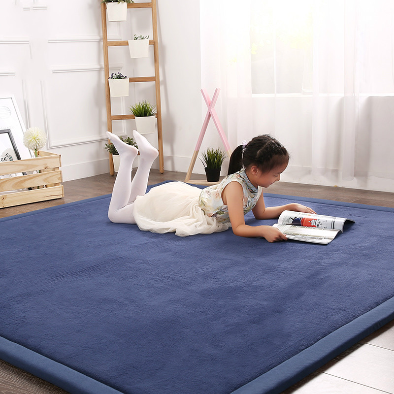 Simple Japanese Tatami Mats Coral Fleece Carpet Thicken Children Kids Playmat Living Room Crawl Mat Large
