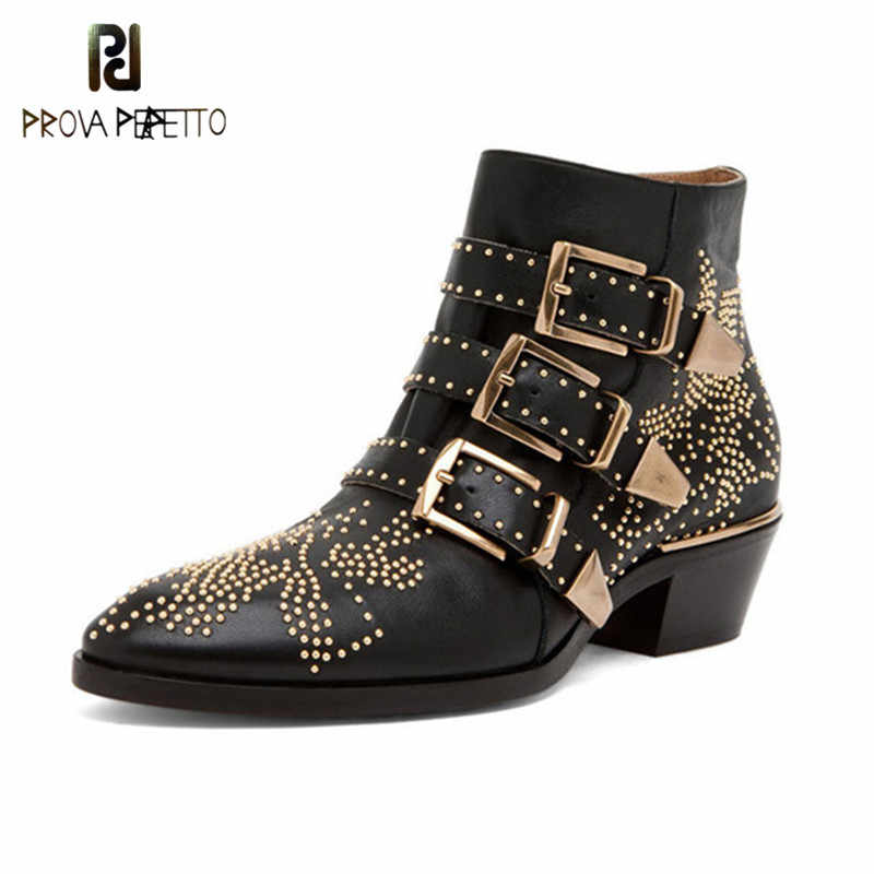 Prova Perfetto New Luxury Rivet Flower Short Boots Women Round Toe Susanna Studded Genuine Leather Ankle Boots zapatos de mujer