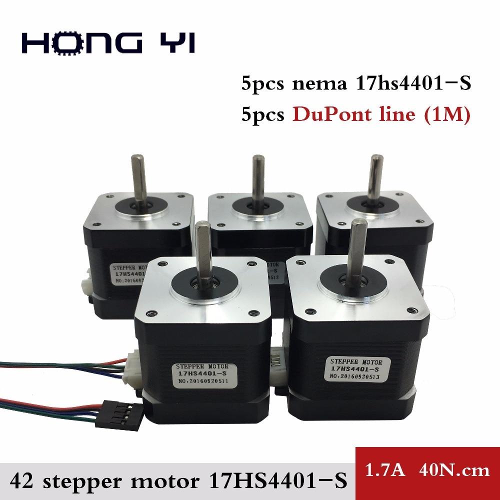 купить Free Shipping 5pcs Nema17 Stepper Motor 42 motor Nema 17 1.7A (17HS4401S) motor for CNC XYZ 3D printer 4-lead with DuPont line по цене 2570.31 рублей