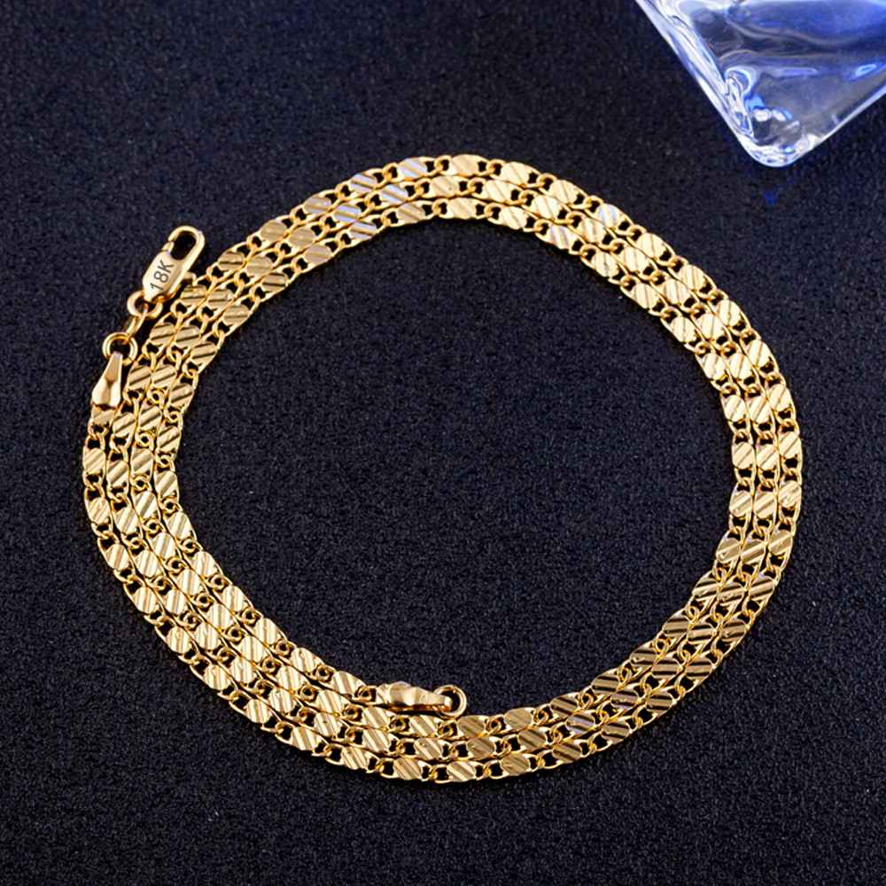 Full Size 16-30 Inches Shiny Gold Color Necklace Chain For Men Women Jewelry Accessories DIY Bijuoux Findings Wholesale