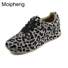 Moipheng 2019 New Spring Women Casual Shoes Sneakers Lace-Up Leopard Print Sewing Gold Woman Sexy Flats Sneakers Zapatos Mujer(China)