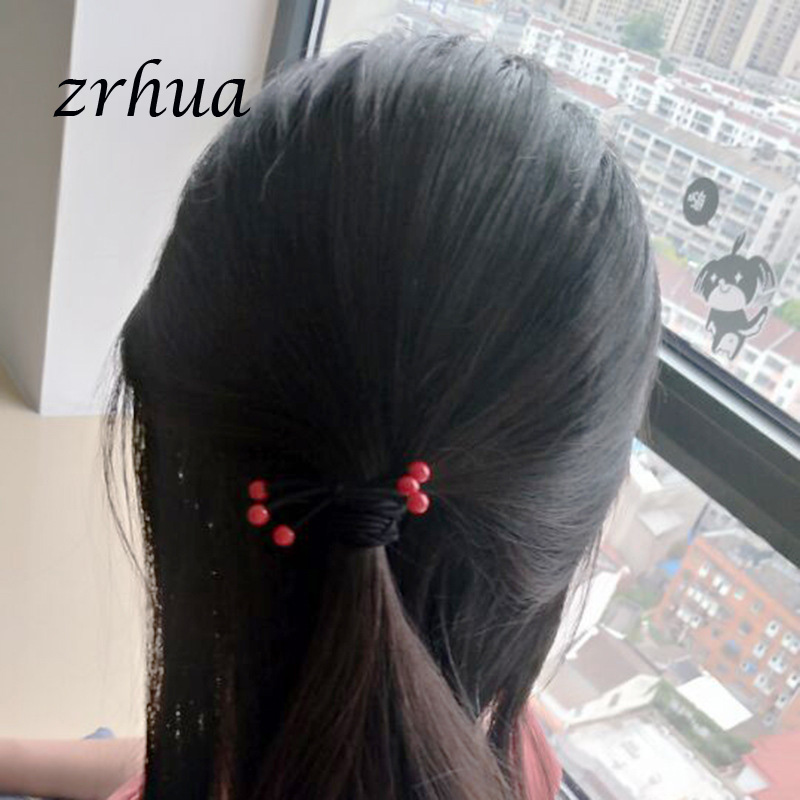 Zrhua 5pcs Lot Simple Red Crystal Hair Accessories For Women Black Elastic Hair Rubber Band Girls Hair Ropes Ponytail Holder Hair Jewelry Aliexpress