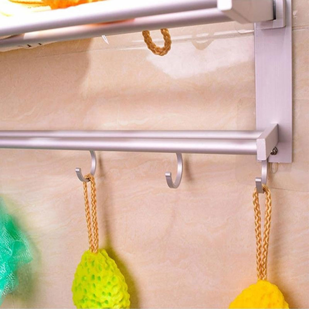 Вешалка для полотенец двойная вешалка для полотенец Полка хранение на кухне Складная Алюминиевая Удобная
