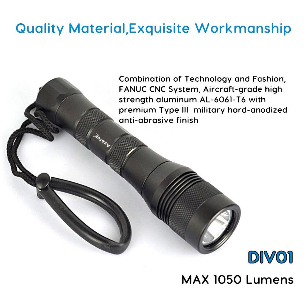 Asafee DIV01 Cree L2 puissant rechargeable LED lampe de poche de plongée 18650 torche sous marine 150 M XM L2 chasse sous marine LED lampe de plongée - 5