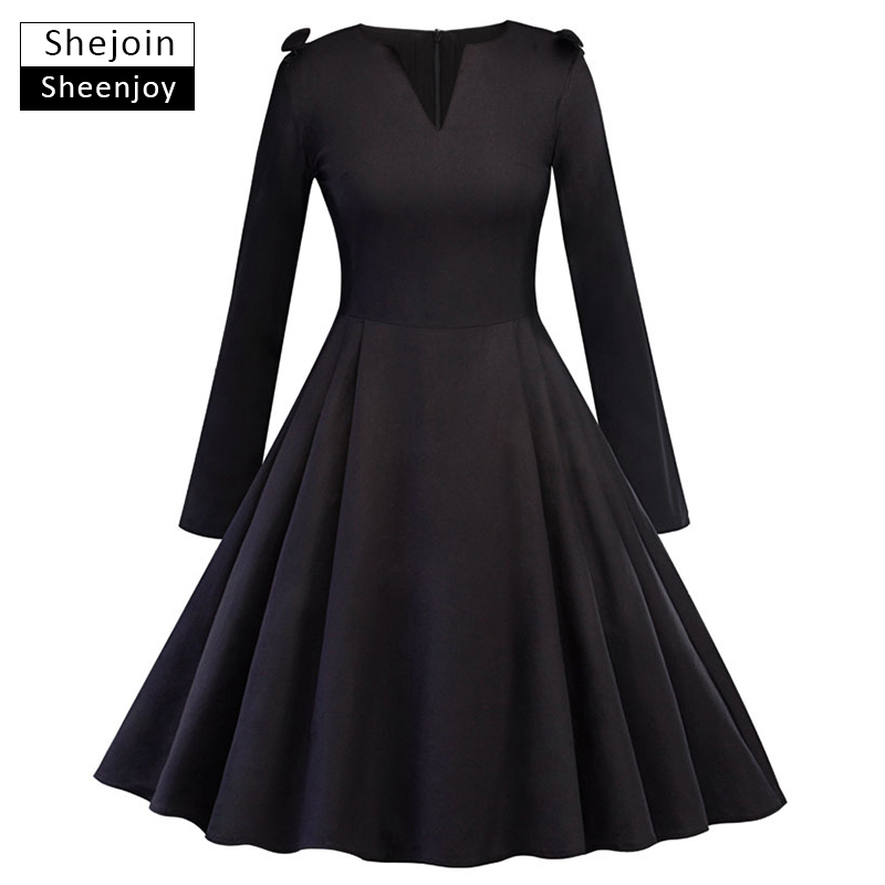 Dresses Objective Solid Plus Size A-line Dress 2018 Women Black Long Cloak Sleeves O-neck Bow Knee-length Elegant Vintage Dress Autumn Dresses