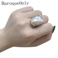 Baroque ทำด้วยมือ 925 เงินสเตอร์ลิงไข่มุกแหวนไข่มุกน้ำจืดธรรมชาติ Vintage RV