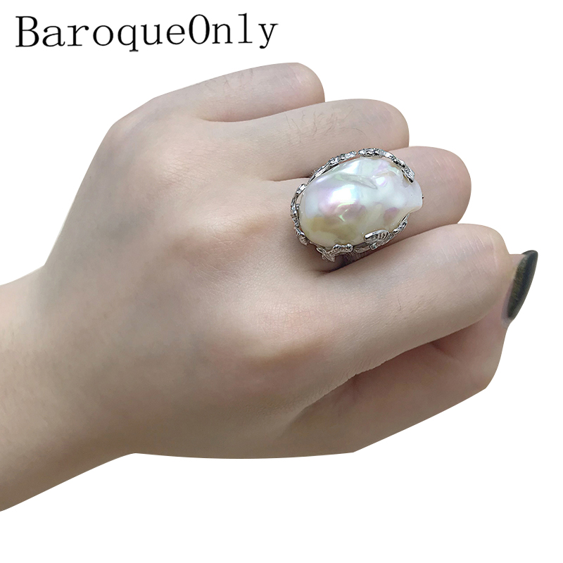 Baroque Original Handmade 925 Sterling Silver Baroque Pearl Ring Genuine Natural Freshwater Pearl Vintage   RV