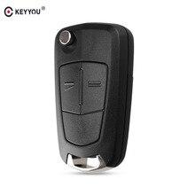 KEYYOU 2 Buttons Flip Remote Folding Car Key Cover Fob Case