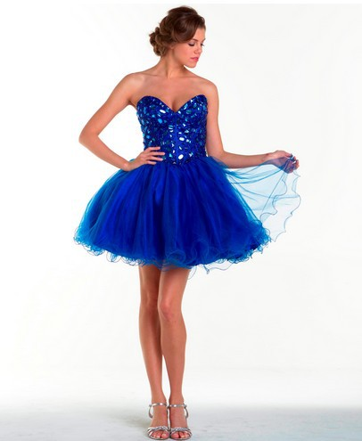 free shipping 2016 dinner sweetheart new style formal ball gowns short rhinestone crystal Cocktail royal blue tulle   prom     Dresses