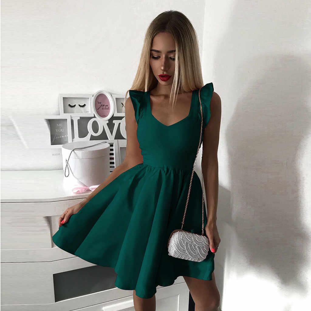 Feitong קיץ שמלת נשים אלגנטית ללא שרוולים V צוואר Vestido שמלת נקבה מוצק מיני בקו המפלגה שמלת גבירותיי שמלות платье