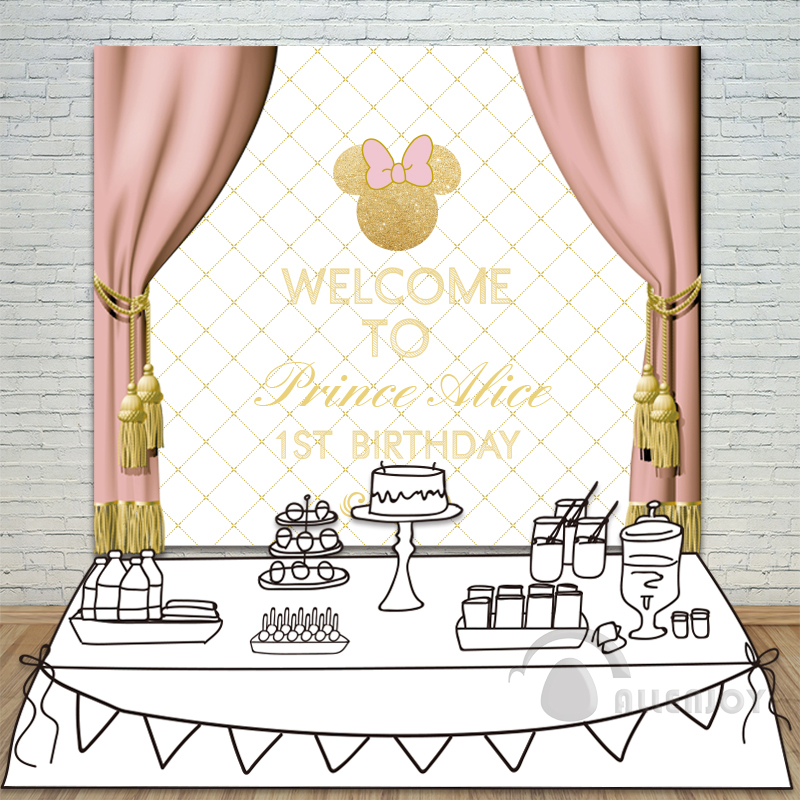 Allenjoy Princess Birthday Backdrop Baby Shower 1st Invitate celebrate Party Pink Curtain Bow table Banner photocall Background allenjoy backdrops baby shower background pink stripe rose gold circle birthday invitation celebration party customize