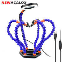 NEWACALOX Third Hand Soldering PCB Holder Tool Six Arms Helping Hands Crafts Repair Helping Welding Station USB LED Magnifier