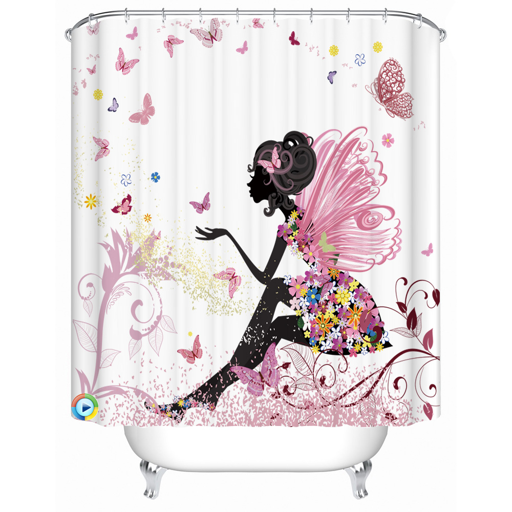 Shower curtains for girls - Girls Bathroom Polyester Fabric Print Shower Curtains Waterproof Washable Bath Curtains China Mainland