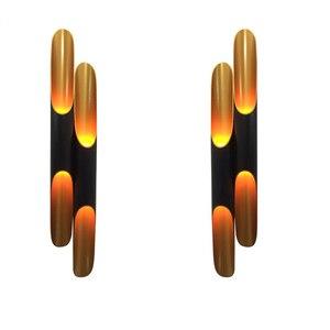 Image 5 - Tubo di Alluminio Moderno Applique da Parete E27 Luce Apparecchi di Oro Nero Nordic Ristorante Living Room Corridoio Corridoio Balcone Lampade da Parete
