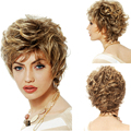 Western Fashion Women Wigs High Quality Heat Resistant Blonde Short Fluffy Curly Wigs Lady African Americans Hair Free wig cap