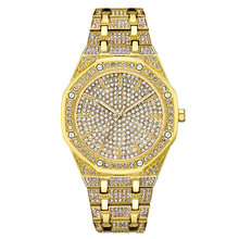 Top Luxury Brand Men Ladies Crystal Watch Women Dress Watch Fashion Gold Quartz Watches Male Big Dial Stainless Steel Wristwatch