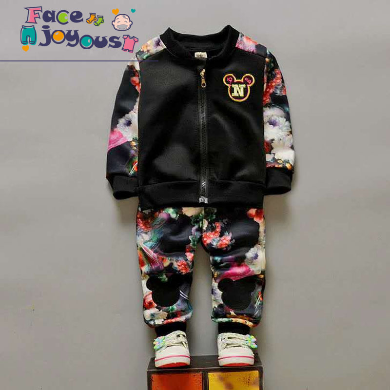 Children's Clothing Sets Girls 2 Pieces Zipper Jacket + Flower Pants Tracksuit Kids Boys Sports Suit Spring/Autumn Baby Clothes retail 2pcs brand new design girls clothing sets for kids autumn tracksuit for girls velvet jacket pants children sport suit
