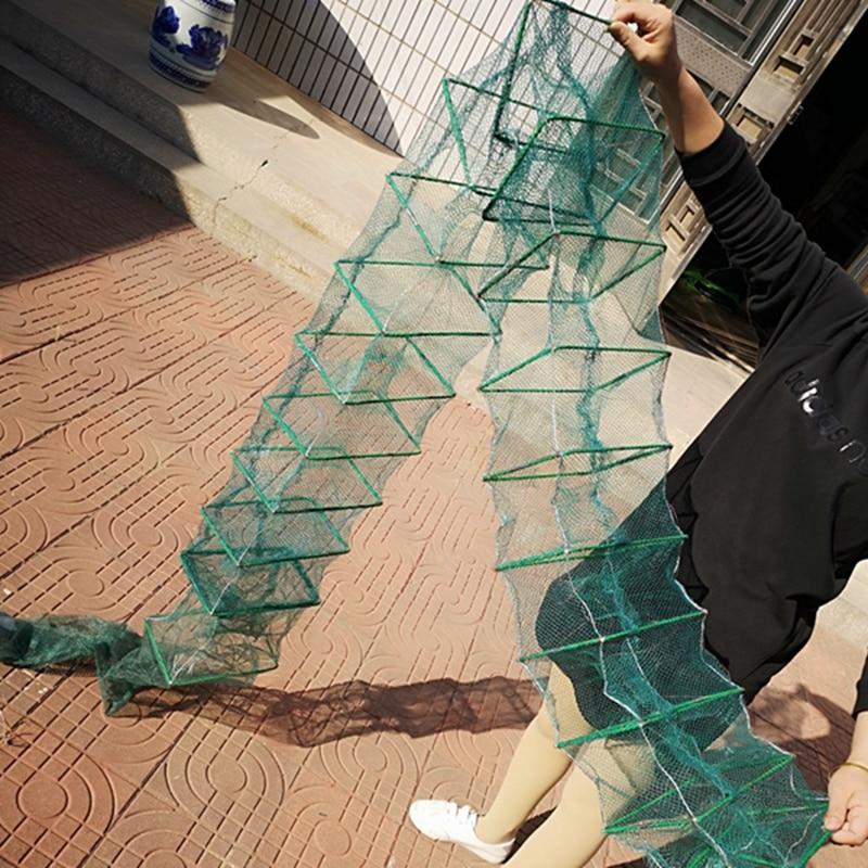 3 m di lunghezza Automatico Da Pesca Rete Da Pesca Gabbia di NetShrimp Catcher Trappola Pieghevole Portatile Per La Pesca del Granchio Gamberi Rete