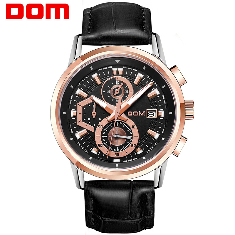 DOM sports watch man  fashion  quartz  military chronograph wrist watches men army style M-6033GL-1M jedir fashion leather sports quartz watch for man military chronograph wrist watches men army style 2020 free shipping