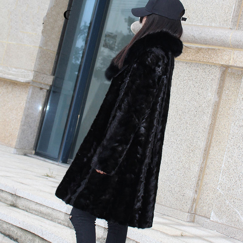 2018 Renard De Femmes Long Nouveau Naturel Vestes Réel Manteaux Taille Plus Fourrure La Hiver Véritable Automne Black Col Vison Style Zqx18E44w