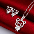 Silver Plated Necklace And Earrings With Stones Kids Bear Jewelry Set Girls Statement Crystal Sets Collares De Cristal Spcs724-5