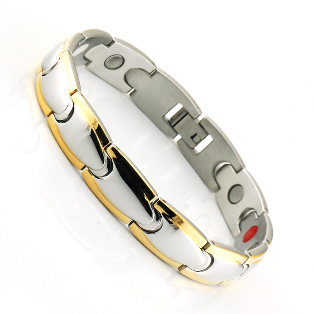 Wollet Jewelry Birthday Gift for Boyfriend Dad Men Energy Health Germanium Black Stainless Steel Magnetic Bracelet For Men in Chain Link Bracelets from Jewelry Accessories
