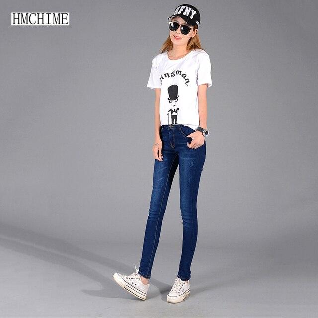 Korean style women elastic cotton jeans plus size slim fashion vintage ripped zippers embroidery pencil cowboy denim pants D217