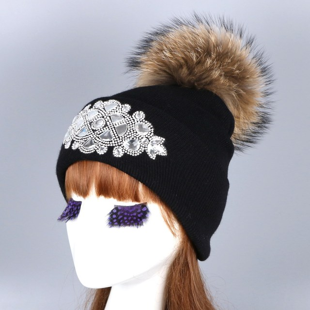 8b3b0f1a9ddfcb women new design winter hat with pompom real MINK FOX animal fur pom poms  winter beanies Luxury crystal decorated woman gorros