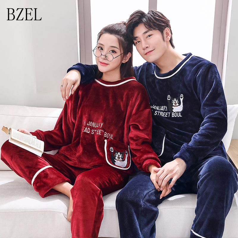 BZEL Flannel Couples Women Men Winter Cartoon Pyjamas Long Sleeve Pullover Pants Pajamas Set Sleepwear Casual Lounge Wear M-3XL