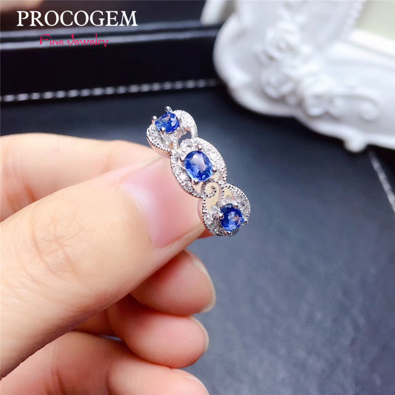 PROCOGEM Natural Sapphire Rings for Women Engagemwnt Party Gifts 3X4mm Genuine gems Fine jewelry 925 Sterling Silver #513PROCOGEM Natural Sapphire Rings for Women Engagemwnt Party Gifts 3X4mm Genuine gems Fine jewelry 925 Sterling Silver #513