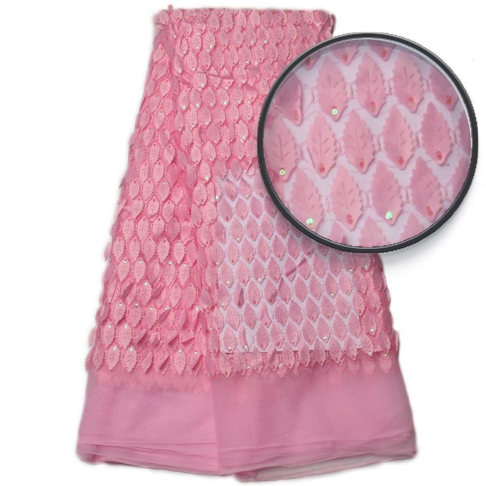 Tissu de dentelle africaine rose bébé, dentelle Applique 3D pour mariage, robe de mariée Tulle dentelle tissu MR792B-in Dentelle from Maison & Animalerie    1