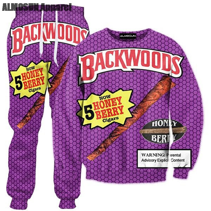 ALMOSUN Backwoods Honey Berry Blunts 3D All Over Print Tracksuits Sweatshirts Hipster Casual Drawstring Casual Pants Women Men Щипцы