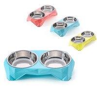 Wofoステンレス鋼ボウルペット犬猫子犬旅行給餌フィーダーダブル食品ボウル水皿プレート双子スタイルペット用品