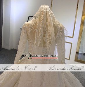 Image 4 - Luxury ball gown wedding dress long sleeves mariage 2020 with full beading