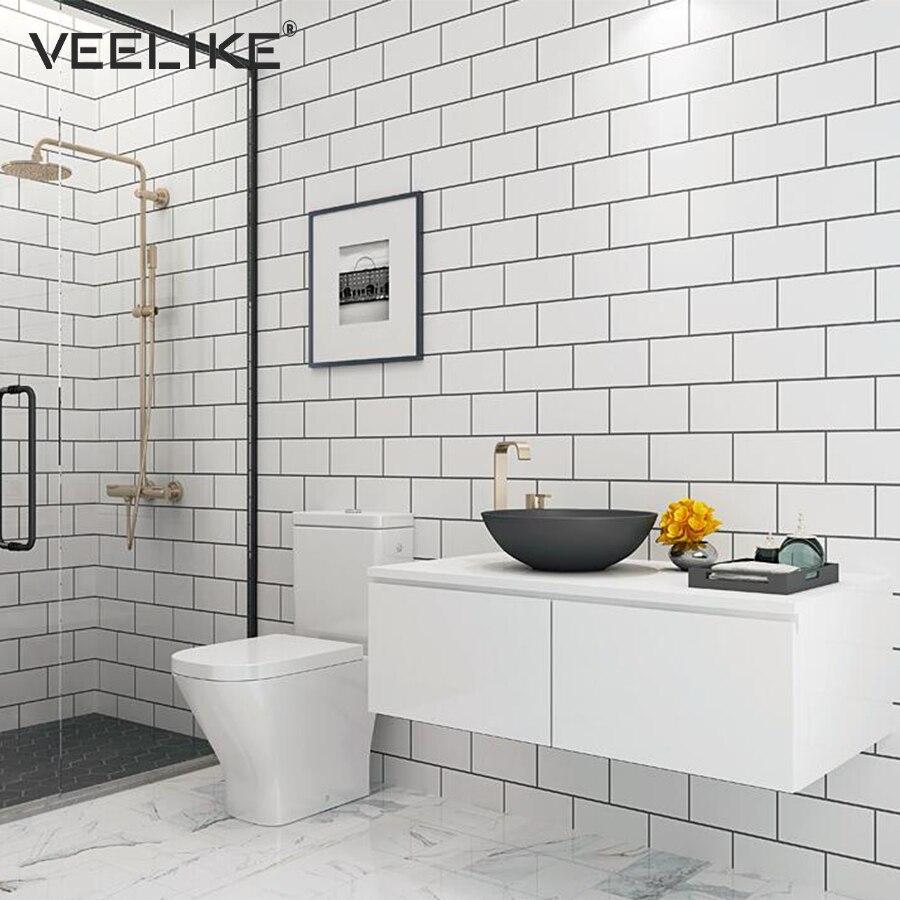Modern Bathroom Wall Decor Self Adhesive Wallpaper Vinyl