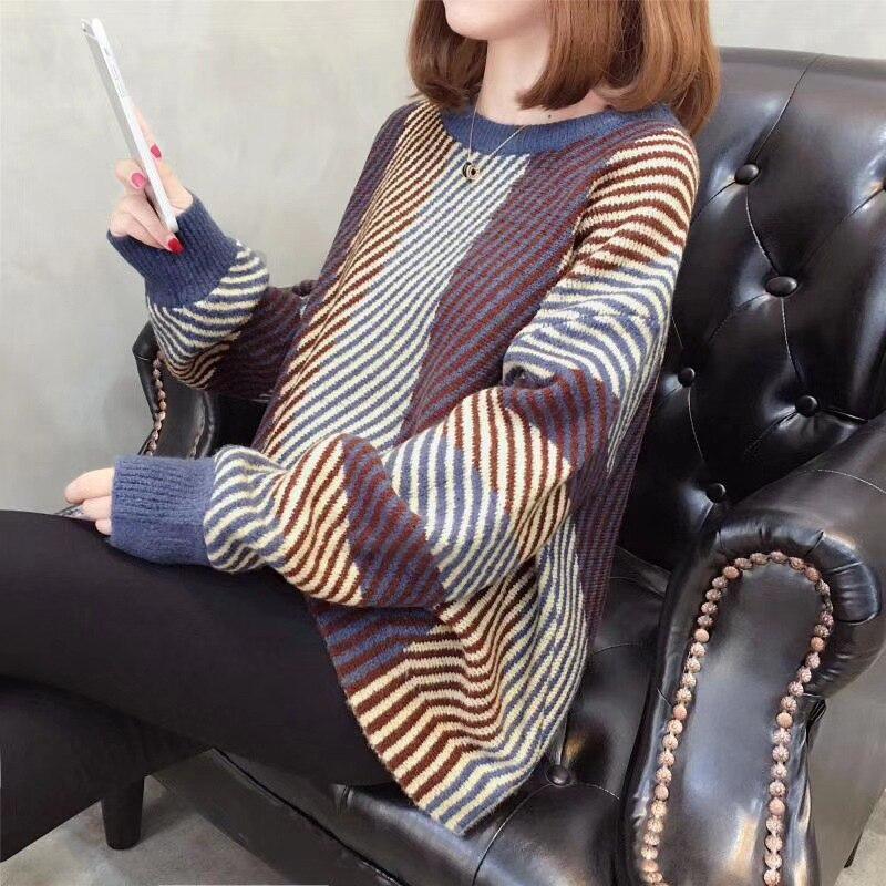 Suéter color Rayas Invierno Empalme Mujeres Alto Las Punto Manga 1 Europa De Color Larga Suelta Mujer E Otoño Cuello Ropa 2 HxzEqg