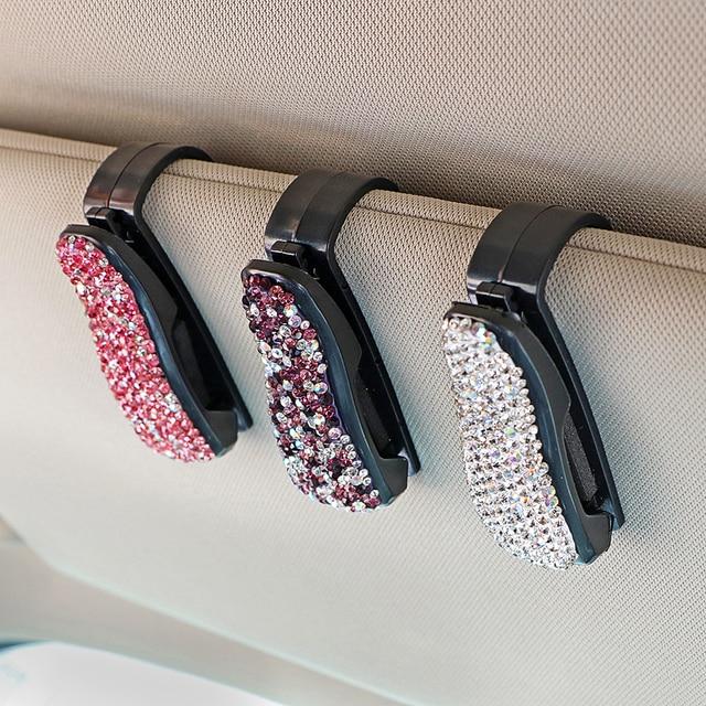 39d5ac12d55 Rhinestone Diamond Car Sun Visor Sunglasses Eyeglasses Holder Glasses Cases  Portable Auto Fastener Clip Storage Holder