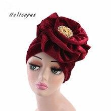 Helisopus New Metal Brooch Velvet Turban Big Ladies Muslim Scarf Hijab India Hat Women Bonnet Chemo Cap Elegant Hair Accessories